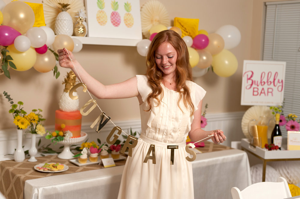 Pineapple Themed Bridal Shower Inspiration - Congrats Banner with Bride to Be / created by Hey Girl Events