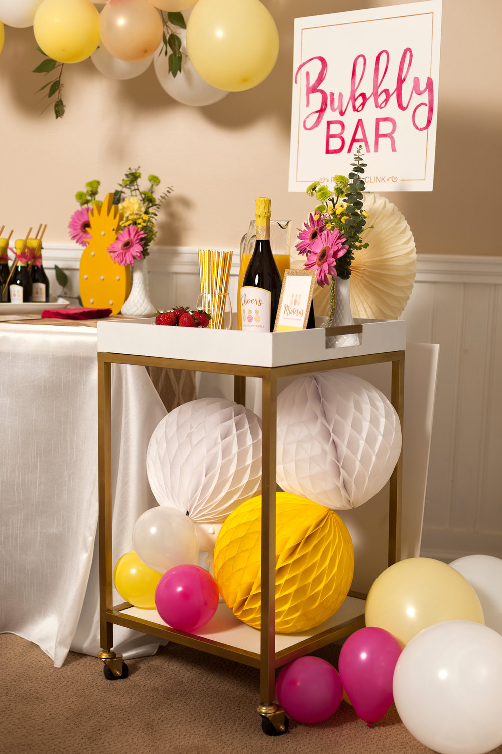 Pineapple Themed Bubbly Bar for a Tropical Bridal Shower - click for more inspiration / event design by Hey Girl Events