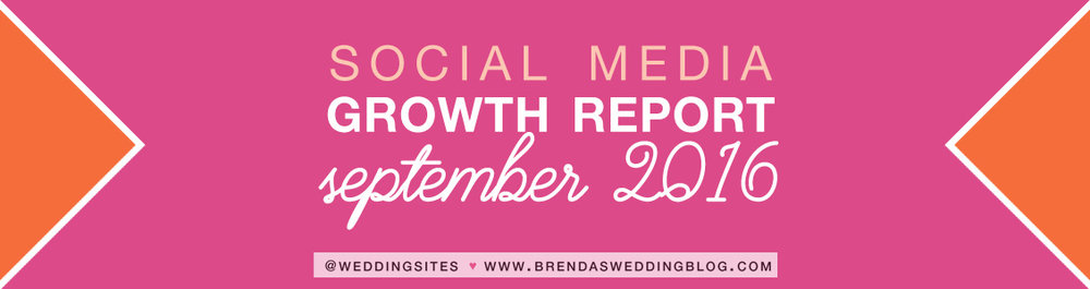 Social Media Growth Report for Brenda's Wedding Blog - September 2016 - www.BrendasWeddingBlog.com