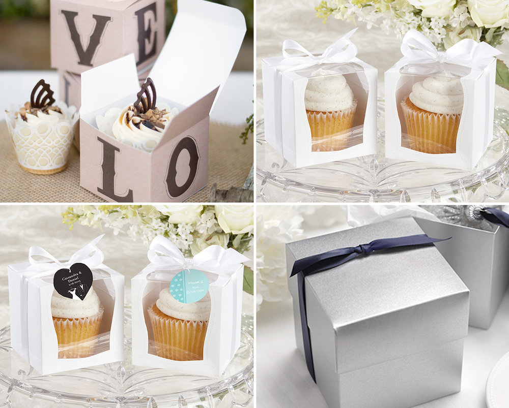 Cupcake Favor Boxes - send your wedding guests home with a sweet surprise. Wedding Cupcakes for breakfast anyone?