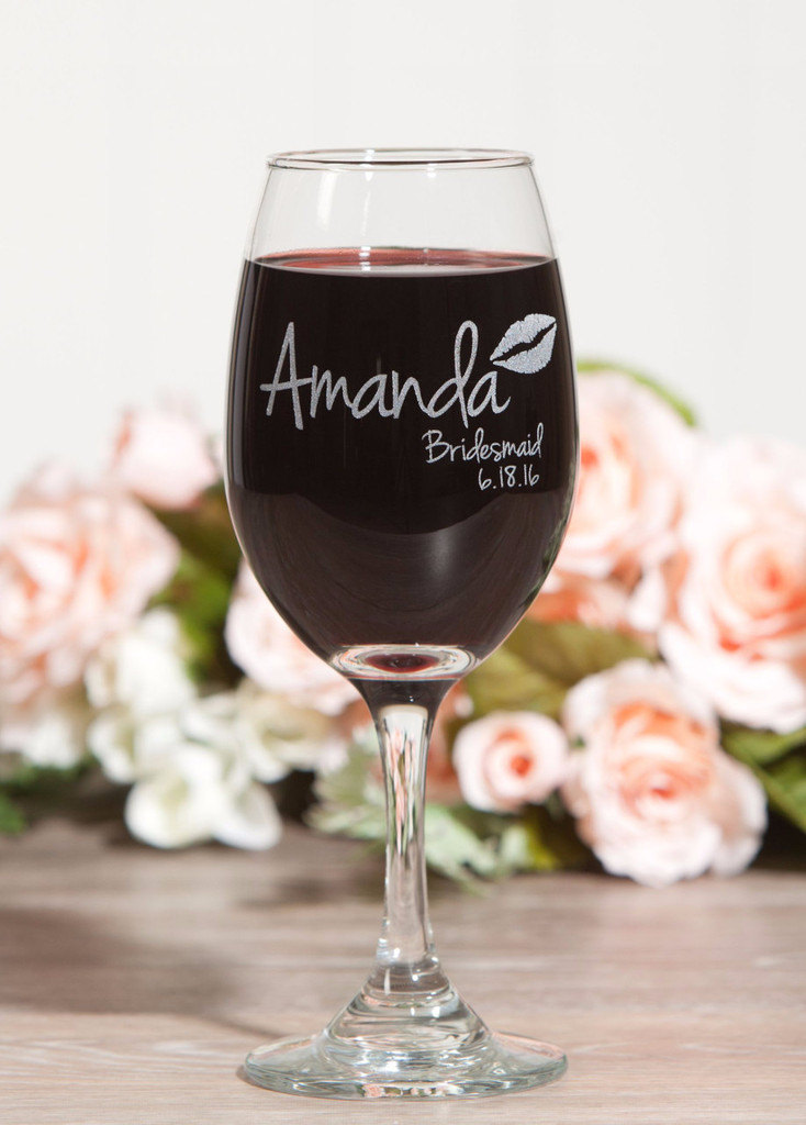 Etched Bridesmaid Wine Glass