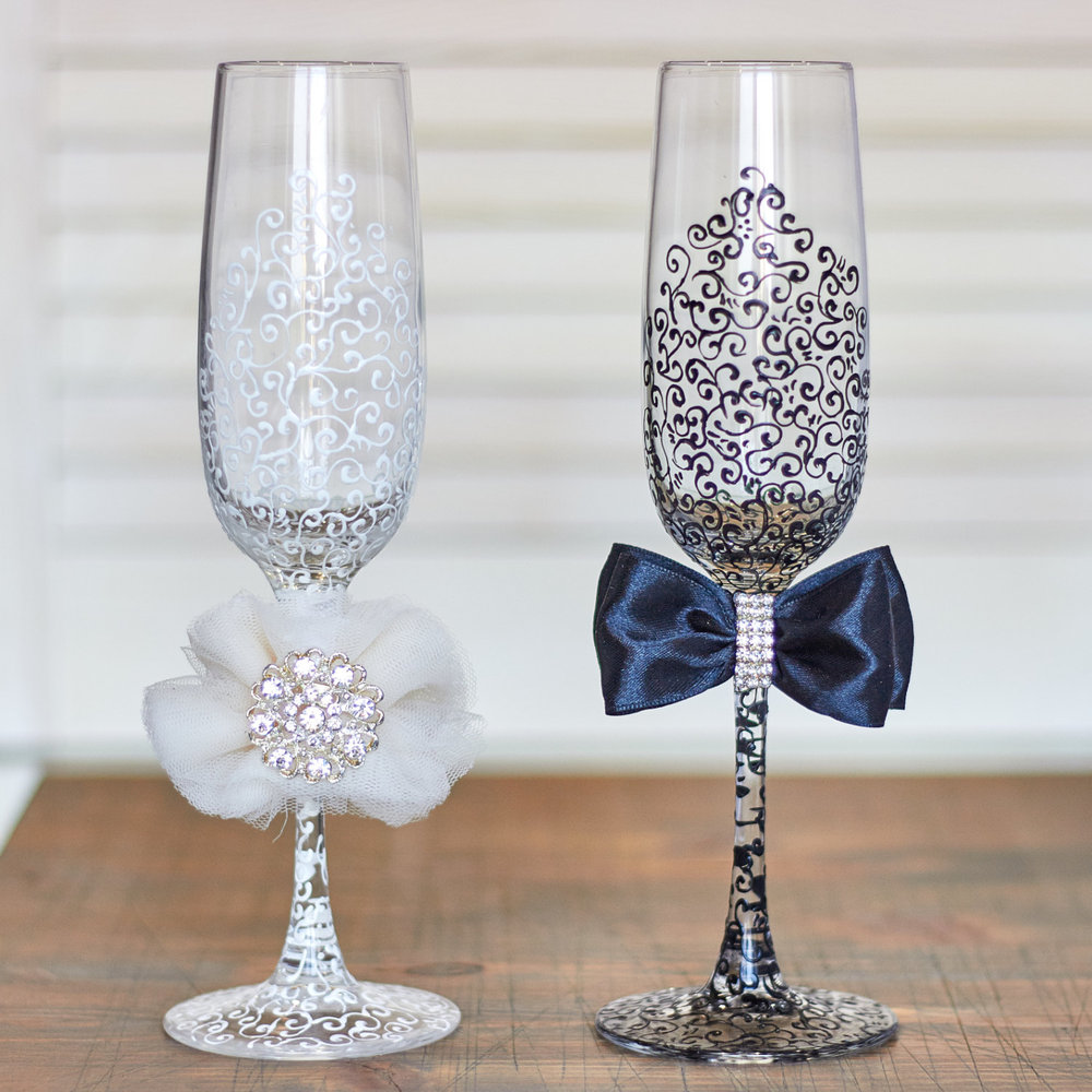 Hand-Painted Lace Wedding Flutes