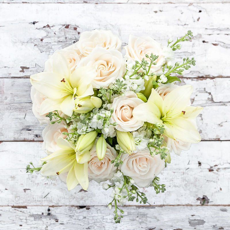 Eggnog : roses, lilies + accents