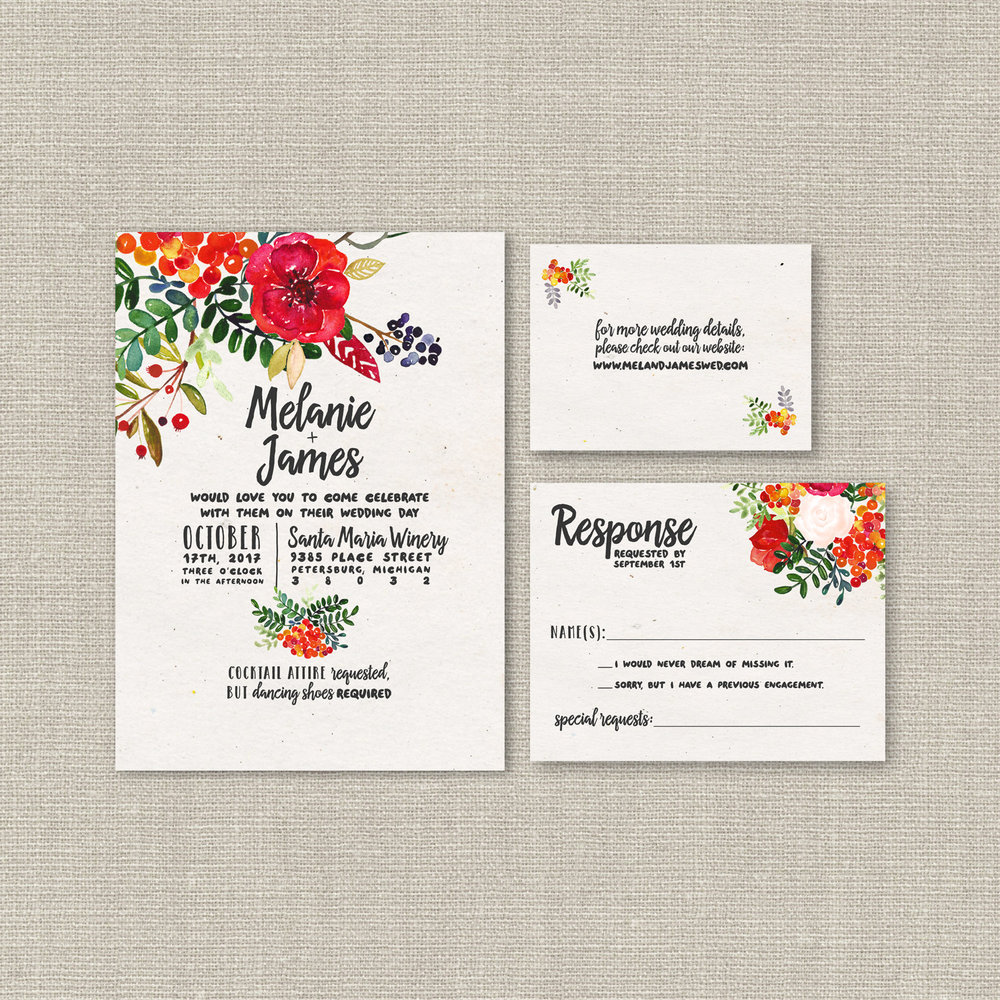 High Quality Custom Wedding Invitations from SplashOfSilver Stationery