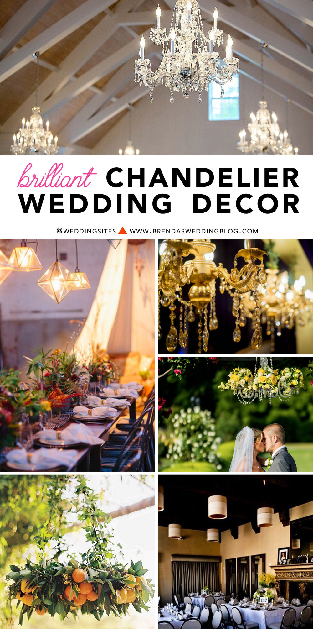 Brilliant Wedding Trend : Chandelier Wedding Decor Inspiration / as seen on www.BrendasWeddingBlog.com - click to see chandeliers for weddings from modern to geometric to classic with lots of bling