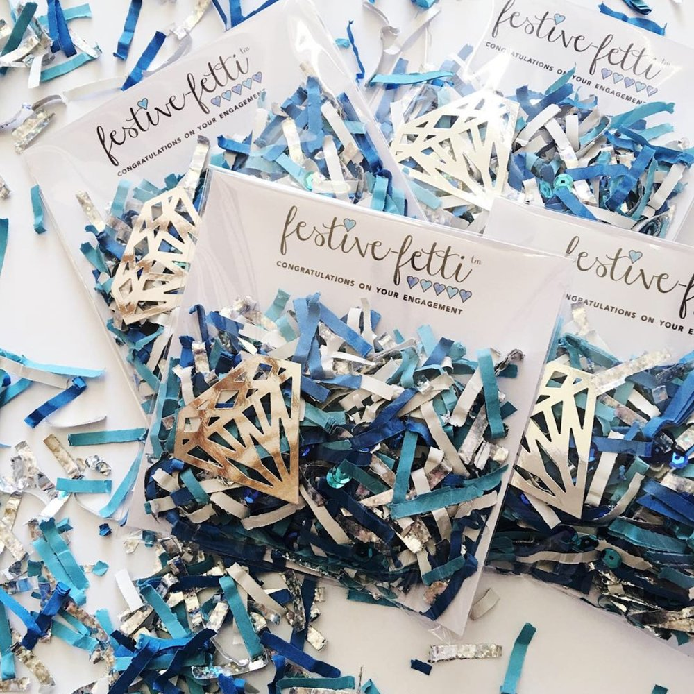 Say Congratulations on your Engagement to the bride and groom with this Something Blue Confetti - from Festive-Fetti - featuring a paper diamond