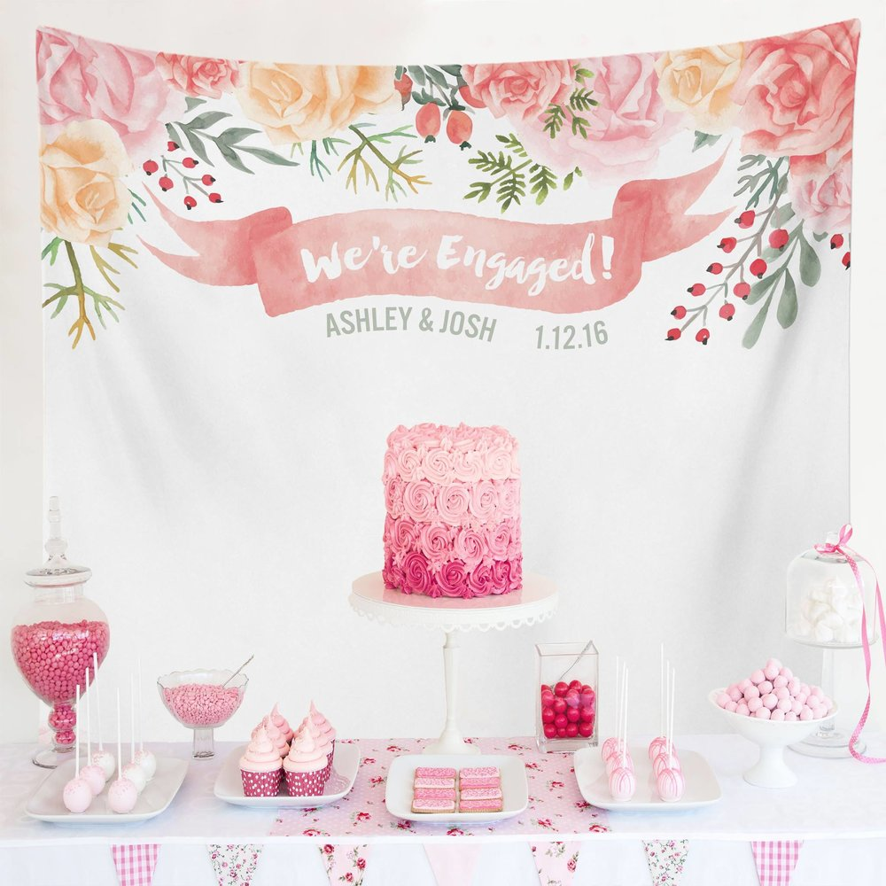 Watercolor Floral We're Engaged Wedding Decoration - Custom Wedding Tapestries Dessert Table Backdrops and Photo Booth Backgrounds - Bridal Shower Banner Decoration - as seen on www.BrendasWeddingBlog.com
