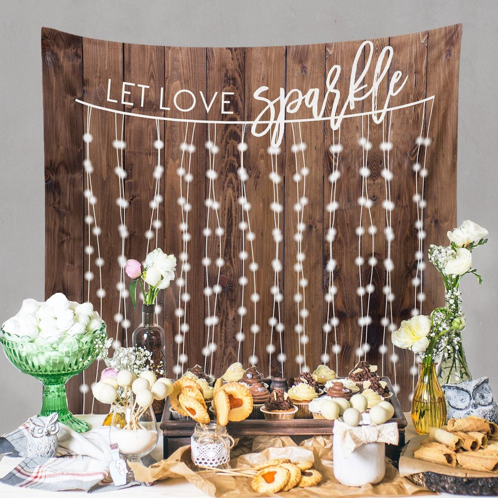 Rustic Wedding Decoration - Custom Wedding Tapestries Dessert Table Backdrops and Photo Booth Backgrounds - as seen on www.BrendasWeddingBlog.com