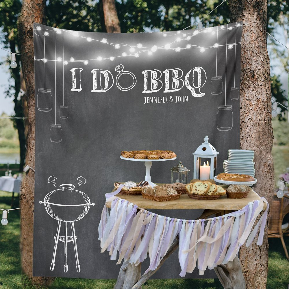 I Do Backyard BBQ Wedding Decoration - Custom Wedding Tapestries Dessert Table Backdrops and Photo Booth Backgrounds - Bridal Shower Banner Decoration - as seen on www.BrendasWeddingBlog.com