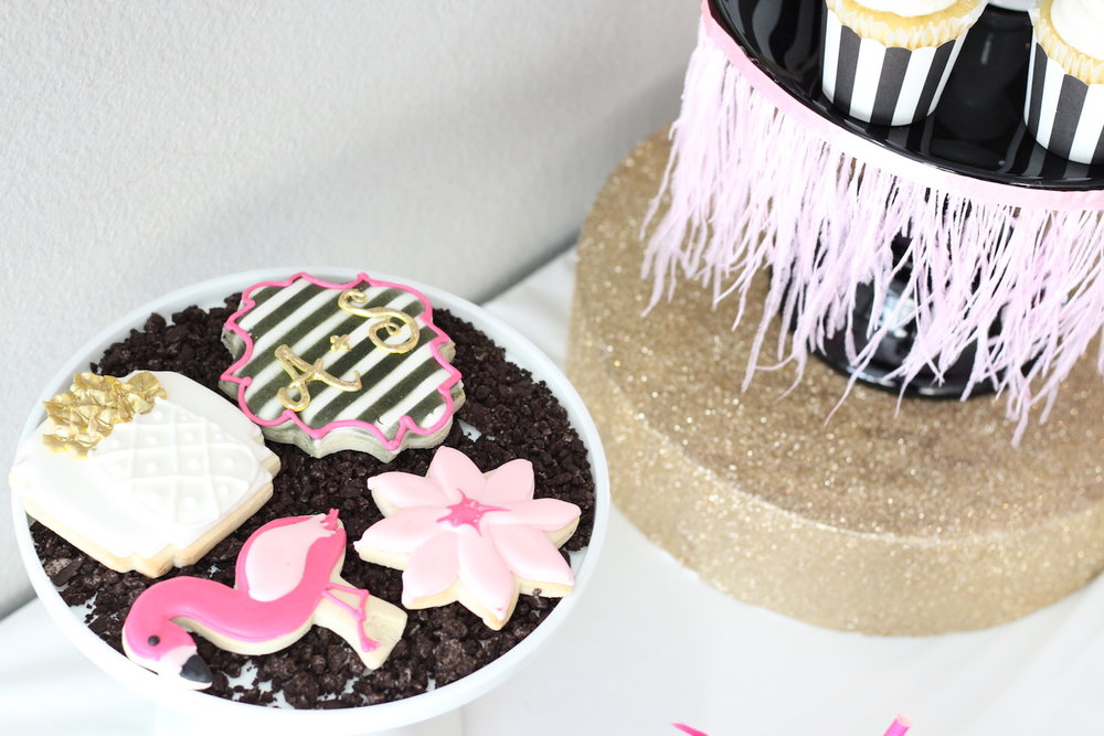 Cookie Presentation for a Let's Flamingo Bachelorette Party {or a bridal shower, even a bridal brunch as the theme is super versatile}. Kate Spade Inspired Bridal Shower Dessert Display. As seen on www.brendasweddingblog.com
