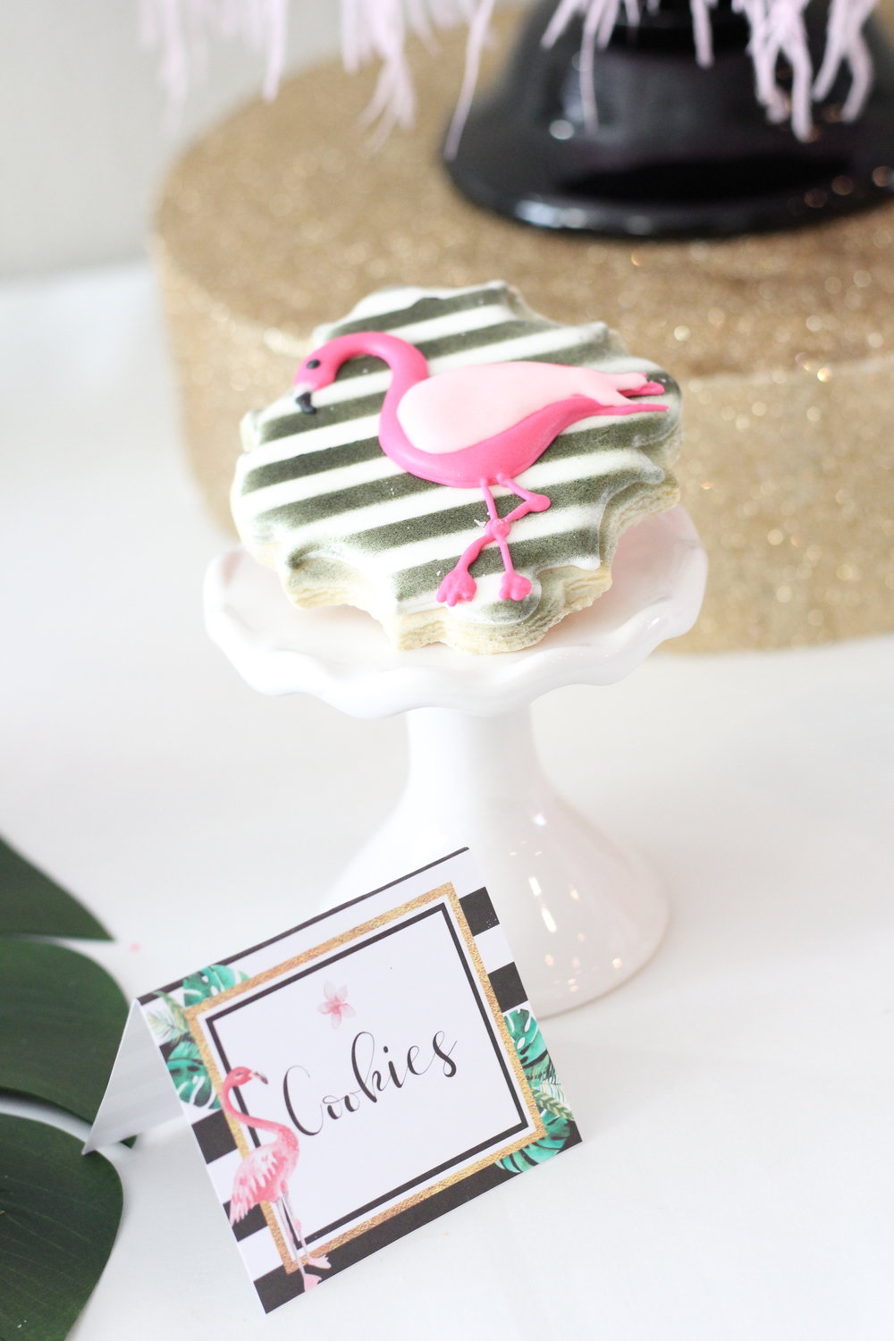 Party Inspiration for a Let's Flamingo Bachelorette Party or Bridal Shower - a fun flamingo party theme in pink, white, black, green and gold. Kate Spade Inspired Flamingo Cookies. As seen on www.BrendasWeddingBlog.com  Write here...