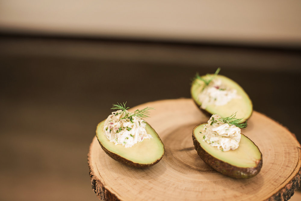 Stuffed Avocados Appetizer — Luxurious and romantic vintage wedding inspiration in an urban venue — photo by Marianne Blackham Photography — as seen on www.BrendasWeddingBlog.com