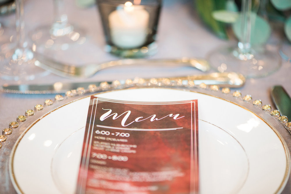 Wedding Menu Design — Luxurious and romantic vintage wedding inspiration in an urban venue — photo by Marianne Blackham Photography — as seen on www.BrendasWeddingBlog.com