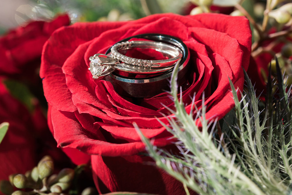 Wedding Ring Shot on a Red Rose — Luxurious and romantic vintage wedding inspiration in an urban venue — photo by Marianne Blackham Photography — as seen on www.BrendasWeddingBlog.com