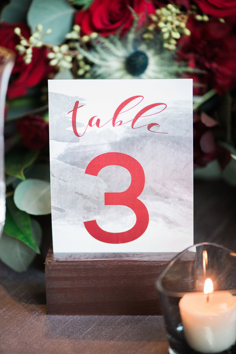 Grey and Red Wedding Table Number — Luxurious and romantic vintage wedding inspiration in an urban venue — photo by Marianne Blackham Photography — as seen on www.BrendasWeddingBlog.com
