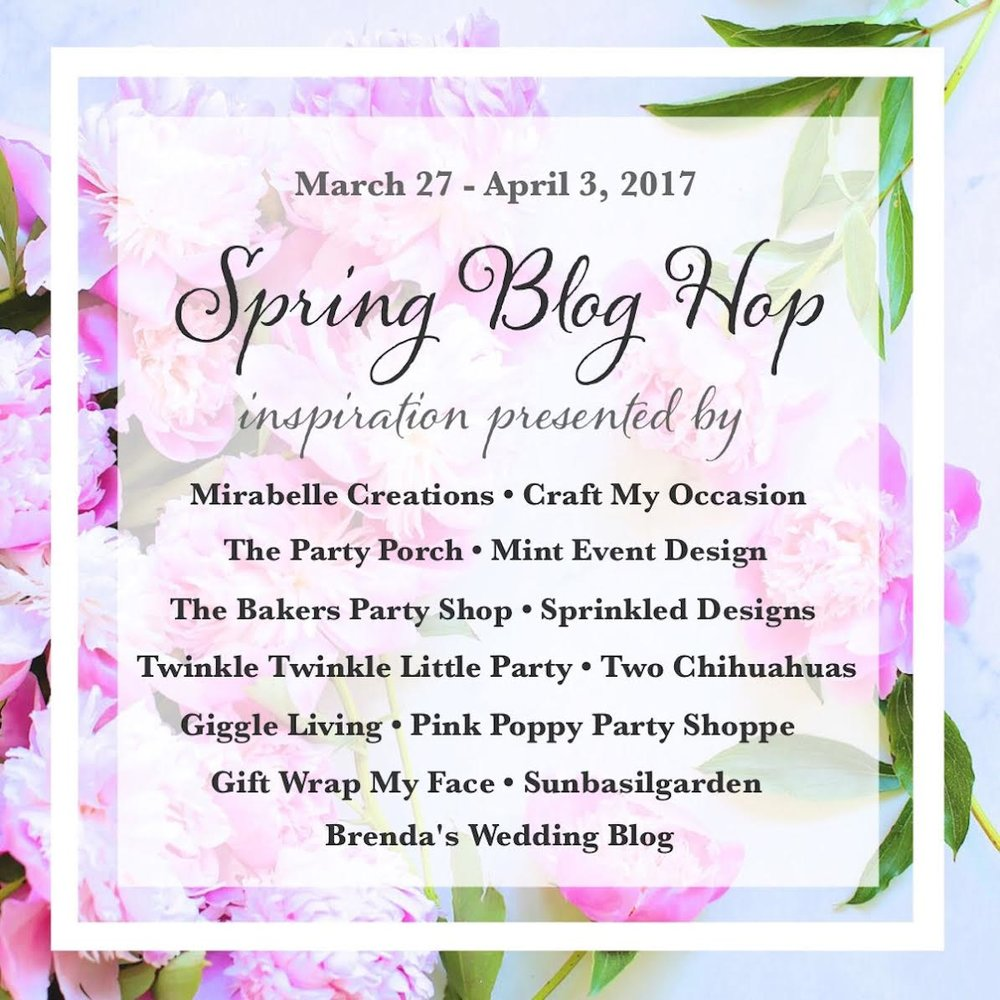 It's a Spring Party Blog Hop with 13 Party Stylists, Bloggers and Handmade Shop owners. Click on over to see 37 Creative DIY Wedding Ideas for Spring on www.BrendasWeddingBlog.com