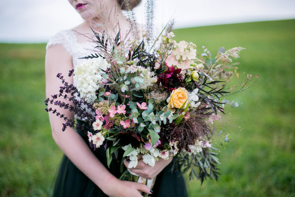 Gorgeous Organic Wedding Bouquet — from Moody and Dramatic Wedding Ideas - photo by Chantal Routhier Photography — click to see more inspiration on www.BrendasWeddingBlog.com