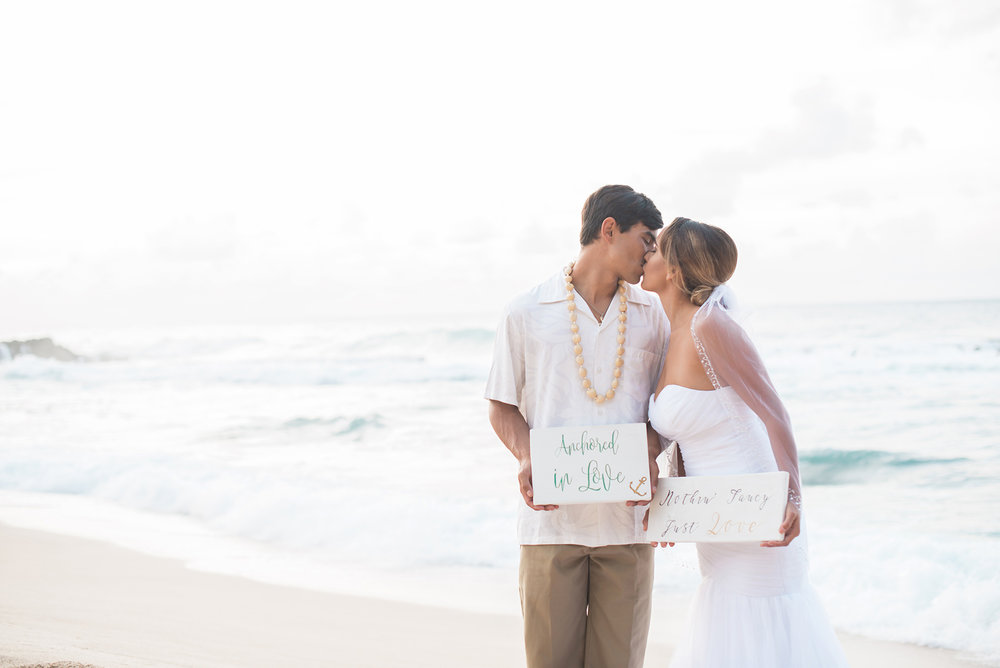 Anchored in Love - it's a Romantic Elopement in Hawaii on the island of Oahu - photo by Marianne Blackham Photography - see more on www.BrendasWeddingBlog.com