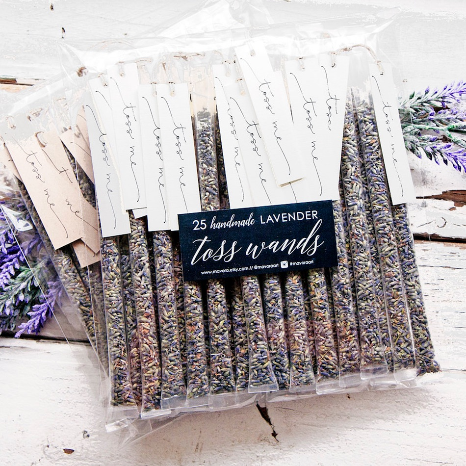 Lavender Wedding Toss Wands / the perfect way to celebrate the newlyweds at their outdoor wedding / Handmade by Mavora / click to see more on www.BrendasWeddingBlog.com