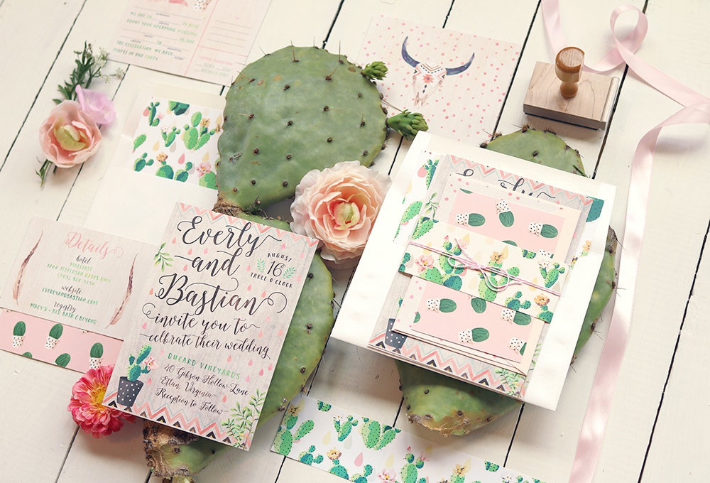 Invite your guests with a desert cactus wedding invitation suite. As seen in Cactus Wedding Ideas - a hot wedding trend on www.BrendasWeddingBlog.com