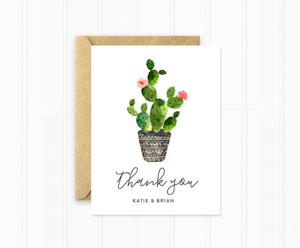 Planning a cactus themed wedding? Cactus thank you cards are a must-have. As seen in Cactus Wedding Ideas - a hot wedding trend on www.BrendasWeddingBlog.com