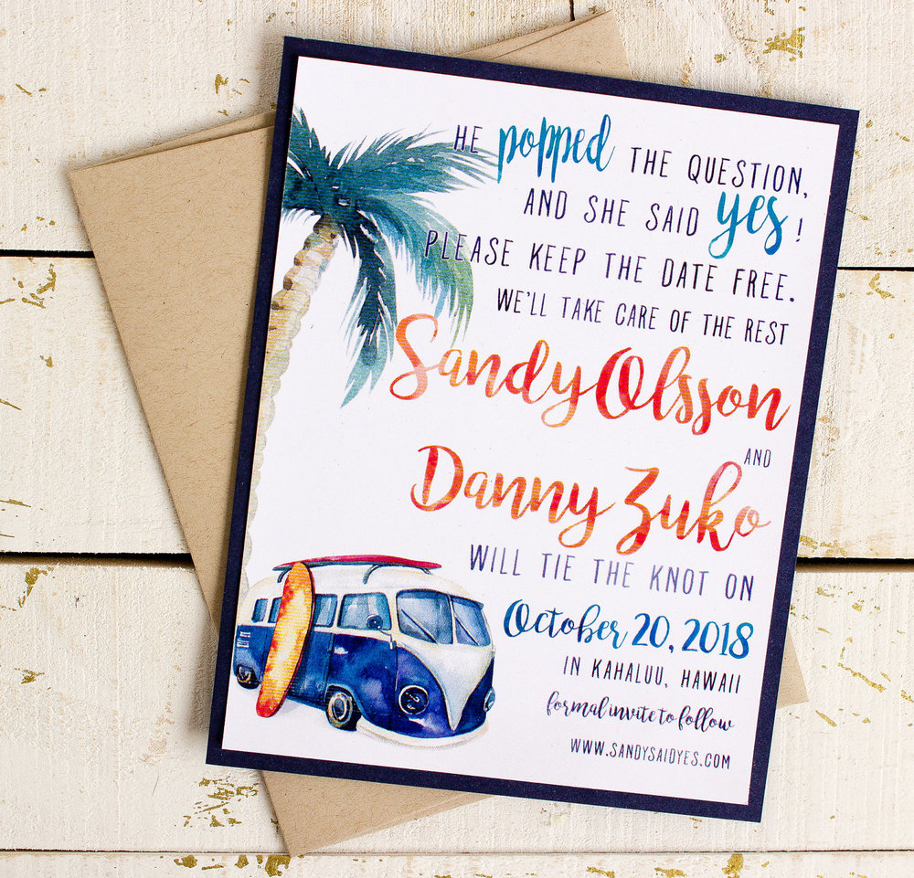Beach Themed Save the Date Cards for Destination Weddings and Beach Weddings. Features a watercolor illustration with a surfboard, vw van and a palm tree. From Sunshine and Ravioli - as seen on www.BrendasWeddingBlog.com