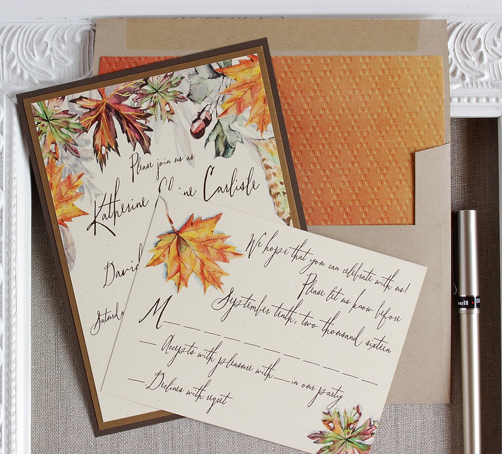 Fall leaves wedding invitation suite featuring a beautiful autumn watercolor illustration in browns, golds, and rust with acorns. Perfect choice for outdoor fall rustic weddings. From Sunshine and Ravioli - as seen on www.BrendasWeddingBlog.com