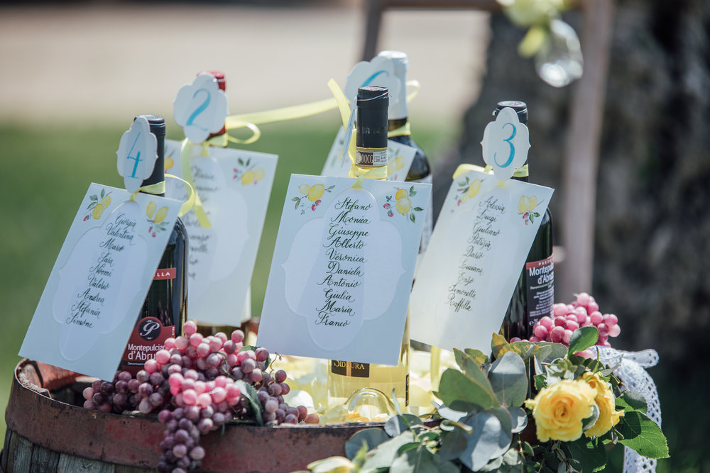 Wine station with drink menus from a Lemon Yellow Garden Wedding Styled Shoot in Rome Italy - by Jess Palatucci Photography - as seen on www.BrendasWeddingBlog.com