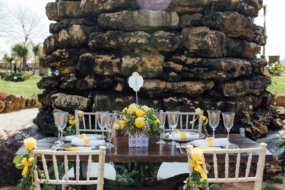 Lemon Yellow Tablescape from a Garden Wedding Styled Shoot in Rome Italy - by Jess Palatucci Photography - as seen on www.BrendasWeddingBlog.com