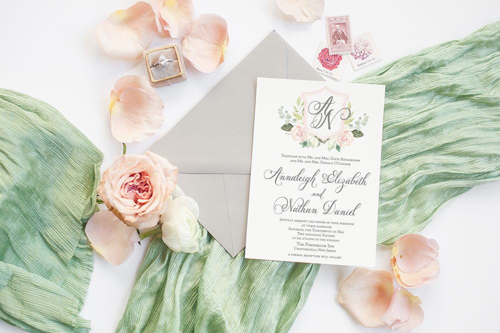 Custom Peach and Green Wedding Invitation with Monogram in a Pastel Floral Crest / Celebrate your special moments in life through paper with Simply Paper Co / as seen on www.BrendasWeddingBlog.com
