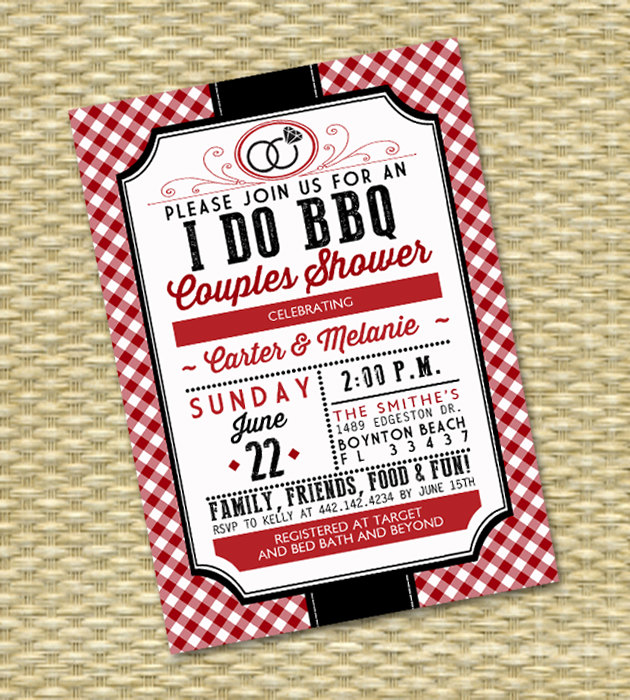 I Do BBQ Engagement Party Invitation with red gingham. Perfect for rustic country weddings, BBQ couples shower and rehearsal dinners.From Sunshine Printables - click to see more BBQ Barbecue Wedding Party Invitations on www.BrendasWeddingBlog.com