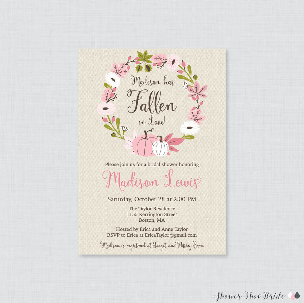 Pink Pumpkin Bridal Shower Invitation with pumpkins and floral wreath. Autumn Bridal Shower Invitation. Fall Wedding Invitation. Printable Pink Pumpkin Bridal Shower Invitation. From Shower that Bride Shop / as seen on Brenda's Wedding Blog www.brendasweddingblog.com   Shop Here