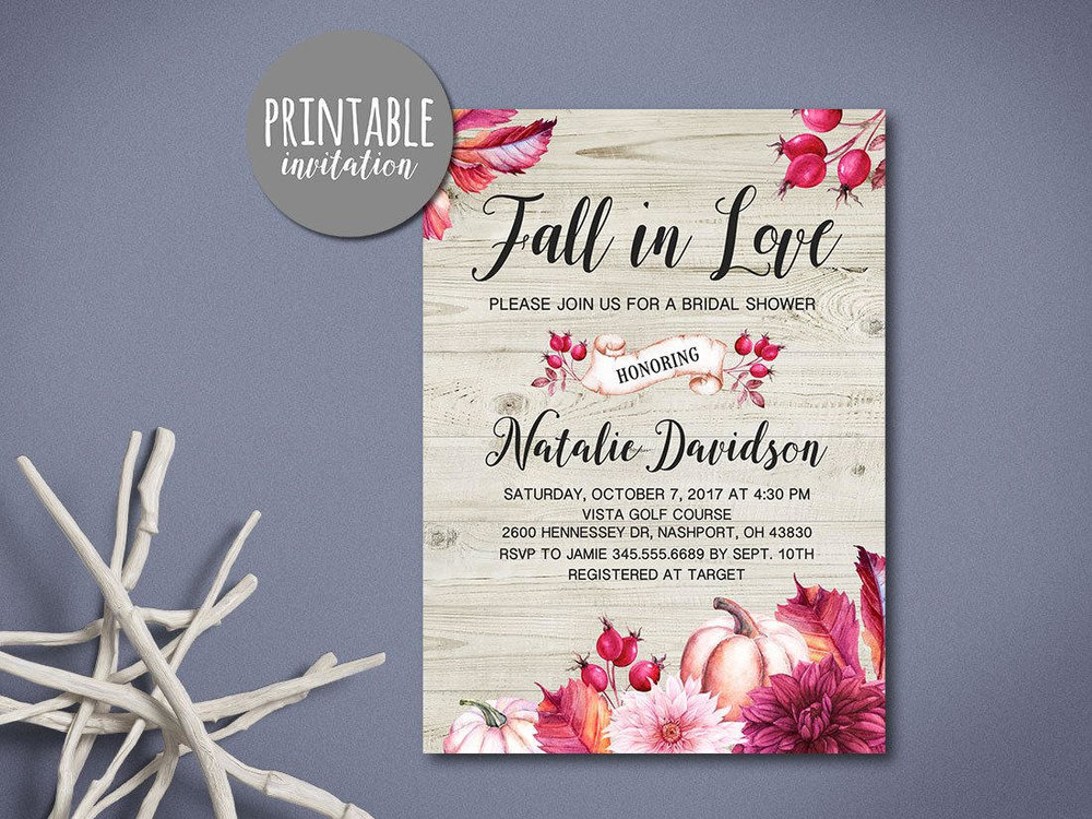 Fall Bridal Shower Invitation with pumpkins, leaves and flowers. Autumn Bridal Shower Invitation. Fall Wedding Invitation. Printable Rustic Bridal Shower Invitation. Printable Pumpkin Bridal Shower Invitation. From Lipamea / as seen on Brenda's Wedding Blog www.brendasweddingblog.com   Shop Here