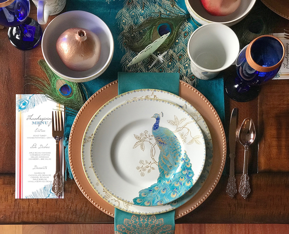 Peacock Wedding Table Setting Ideas With Copper Teal And Cobalt Blue