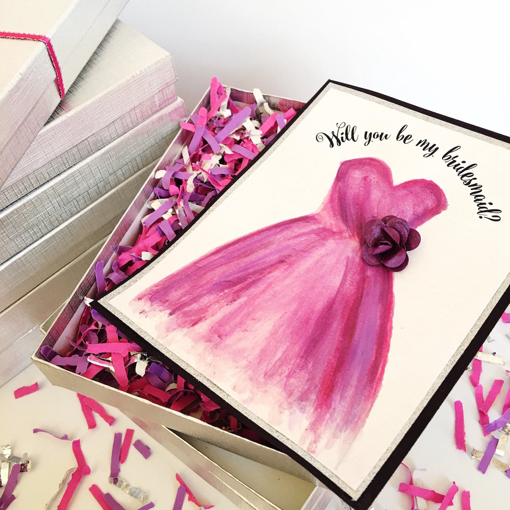 Enter to Win Handmade Will You Be My Bridesmaid Gift Card Sets with Confetti