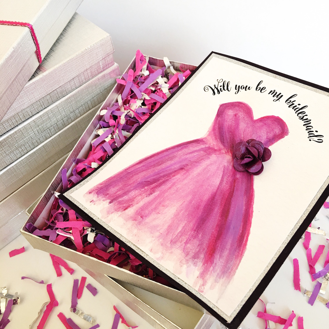 Win Handmade Will You Be My Bridesmaid Gift Box Card Sets with Confetti