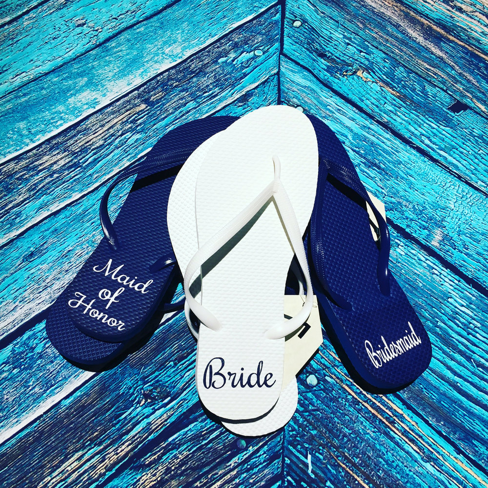 55030cc5ccc7 Personalized Bridal Flip Flops by Darling Dixie Gals