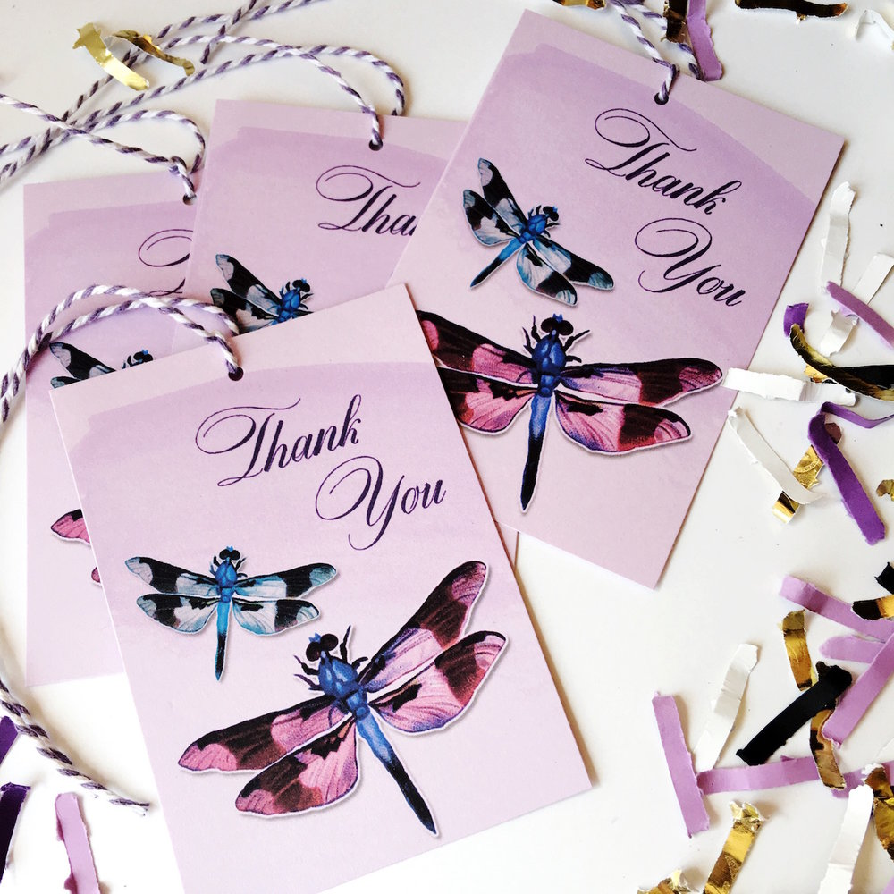 Free Printable Dragonfly Thank You Gift Tags. The prettiest way to add the finishing touch to your gift package. Pairs perfectly with the dragonfly necklace from Waxing Poetic - come see the full review on Brenda's Wedding Blog www.brendasweddingblog.com and download your free dragonfly gift tags #dragonfly #gifttags #printables #printable #freeprintables #freebie