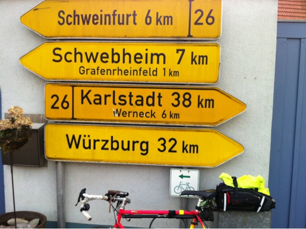 Heading back to Wurzburg - the start of my cycling adventure a week before. Note the little cycle track sign.