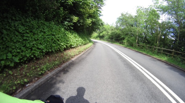 Down the 100 metre descent to Tintern. Wales had good cycling on the roads.