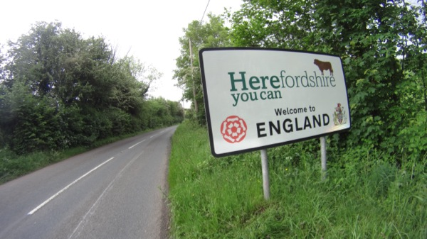 Back into England from Wales. I did not remember Herefordshire, but I'm sure its famous for something (other then this sign)