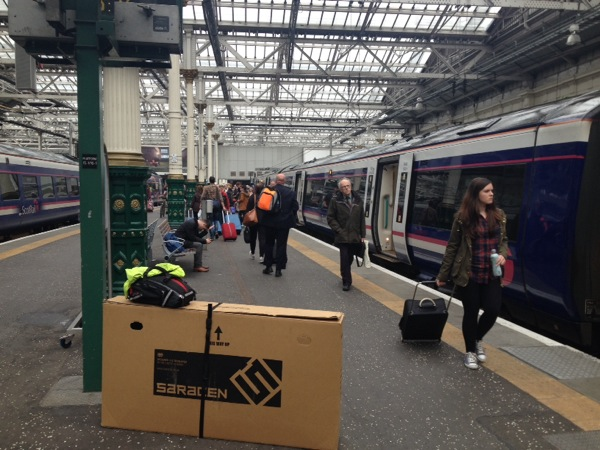 Arrived at Edinburgh. The bicycle was packed into the box between Inverness and Edinburgh.