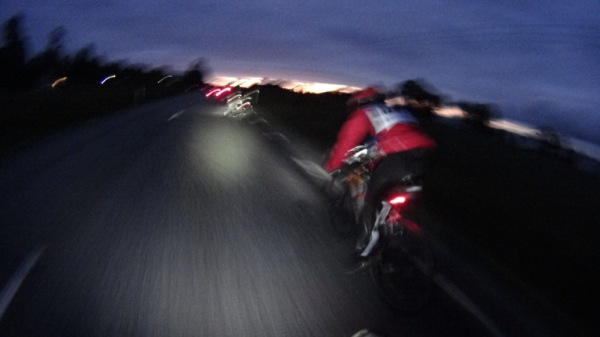 Artistic shot of our bunch at 40km/hr- concentration was important to maintain safety in the dark.