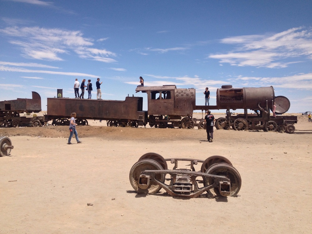 The train graveyard on the edge of Uyuni is a look back in history.