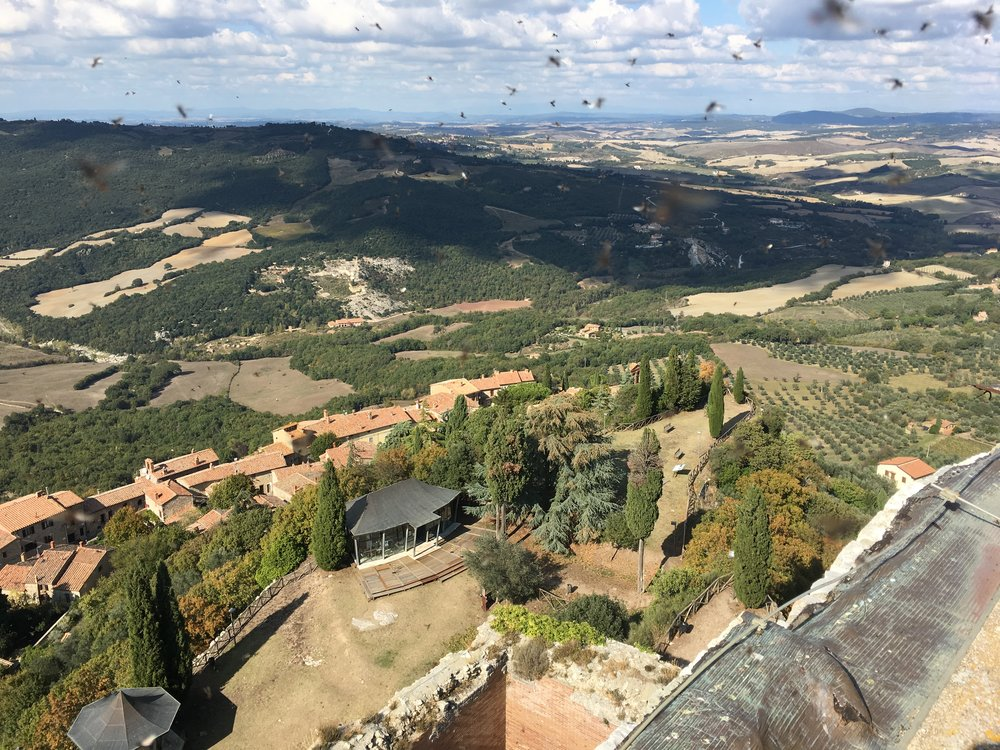View from the Rocca di Tentennana Tower; Bagno Vignoni centre; Note the swarm of inserts.
