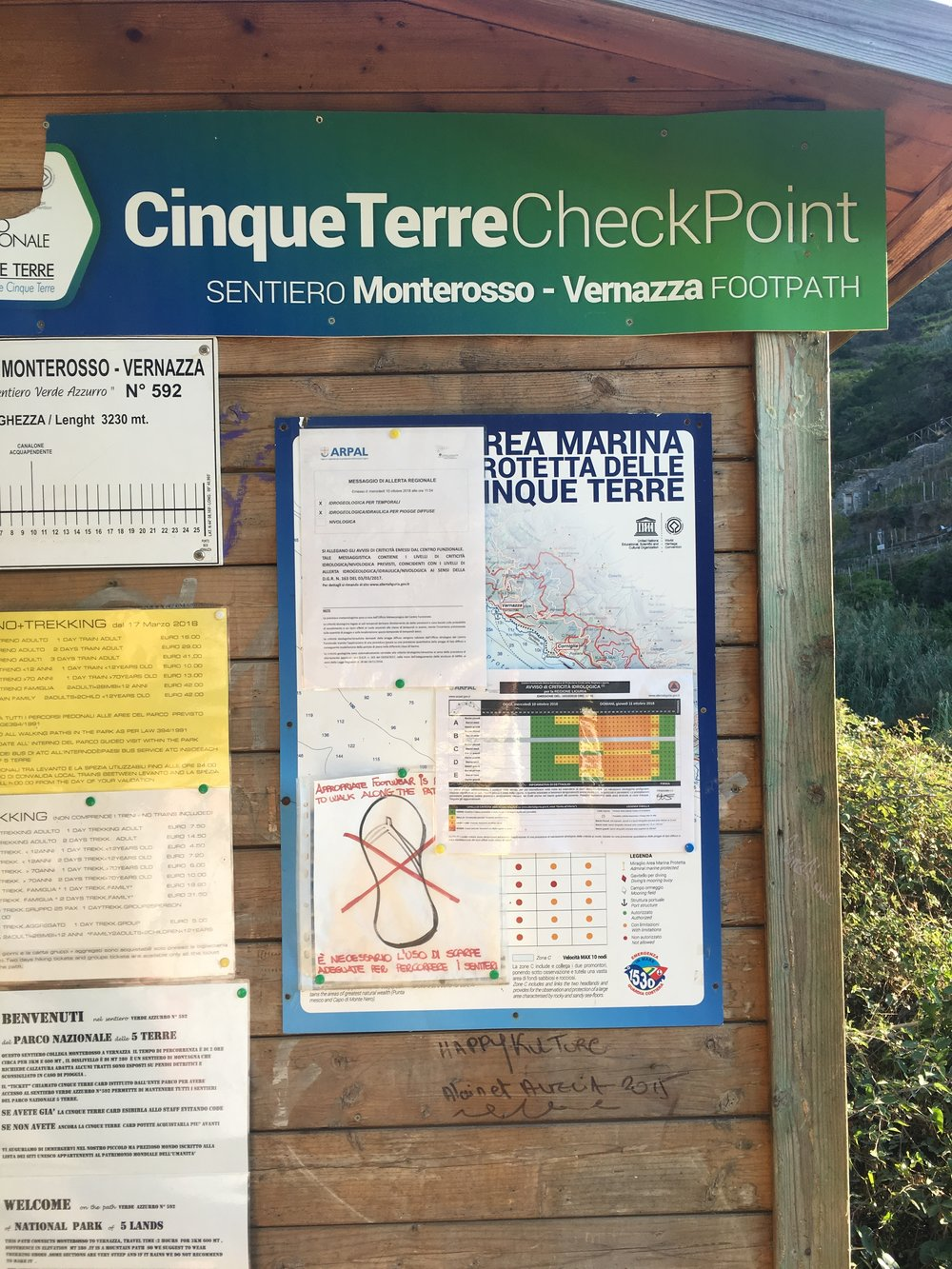 Checkpoint for walk to Vernazza