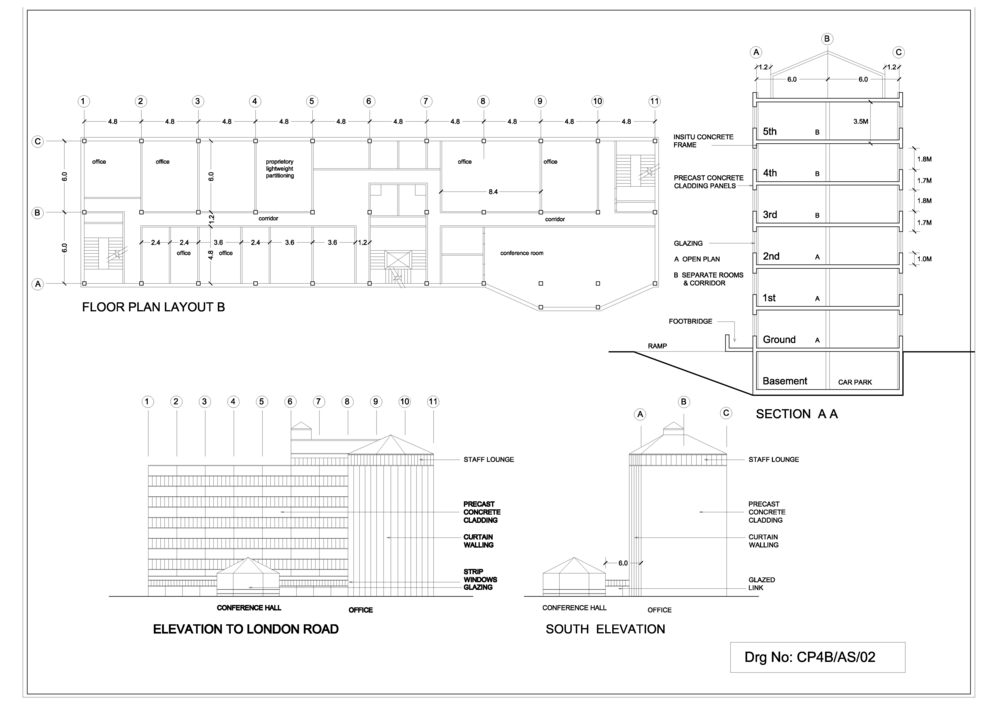 5. Office block elevations and section