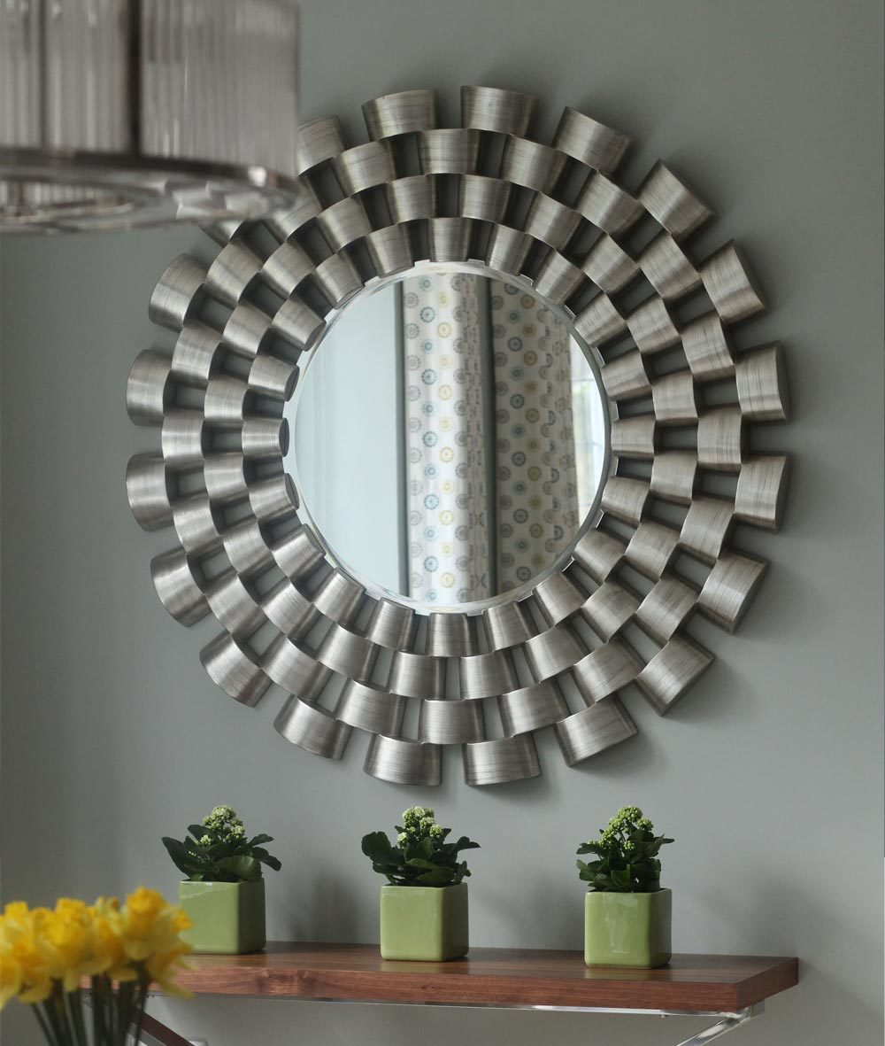 About michele shaw interior design for Large silver modern mirror