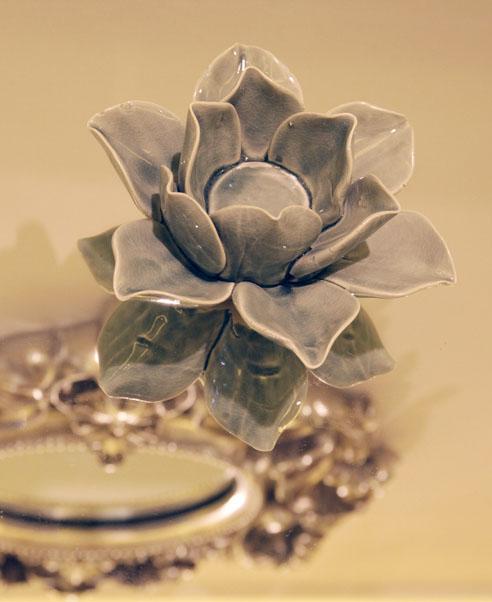 Set of 3 Blue Flower ceramic Tealights
