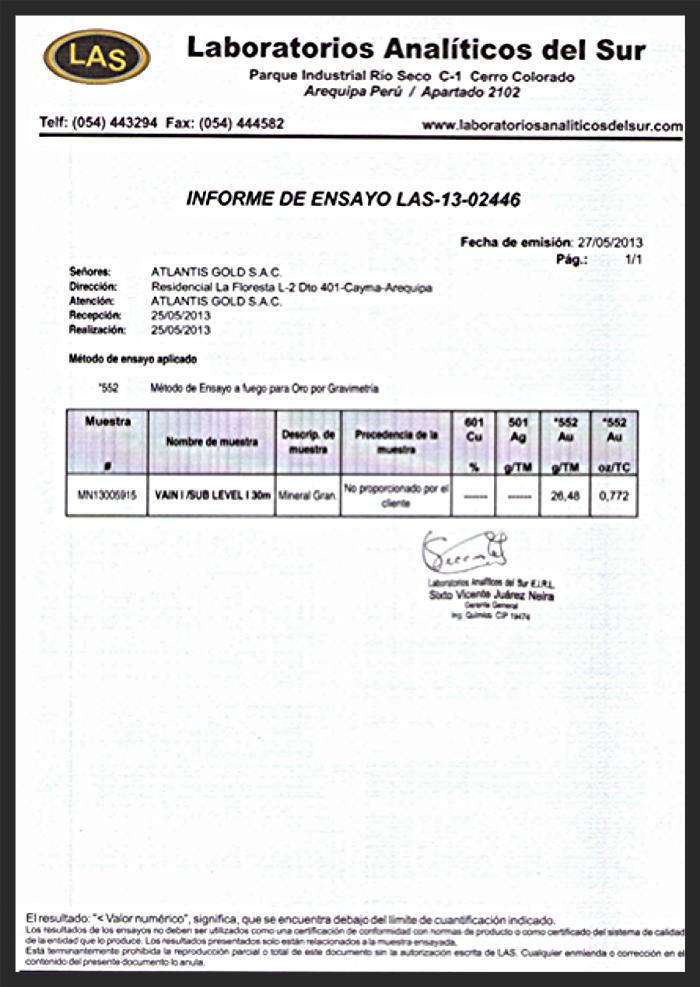 Assay results - Blanca Vein - 27MAY13.png